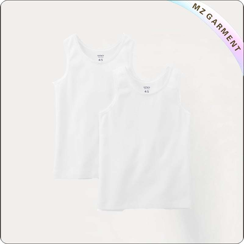 Kids Solid White Singlet