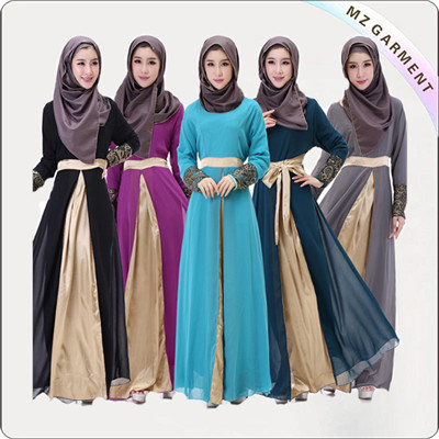100% Cotton Muslim Dress Long Sleeve Embroidery