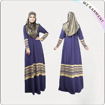 100% Cotton Muslim Dress Long Sleeve Red Purple
