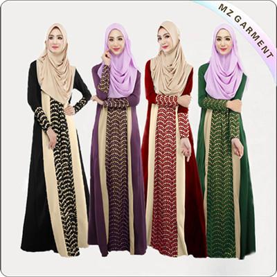 100% Polyester Ladies Muslim Dress Long Sleeve