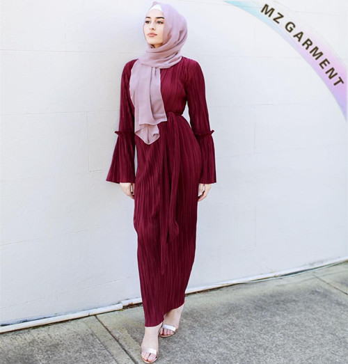 Muslim Women Long Dress, Made of Cotton, Polyester, Various Colors