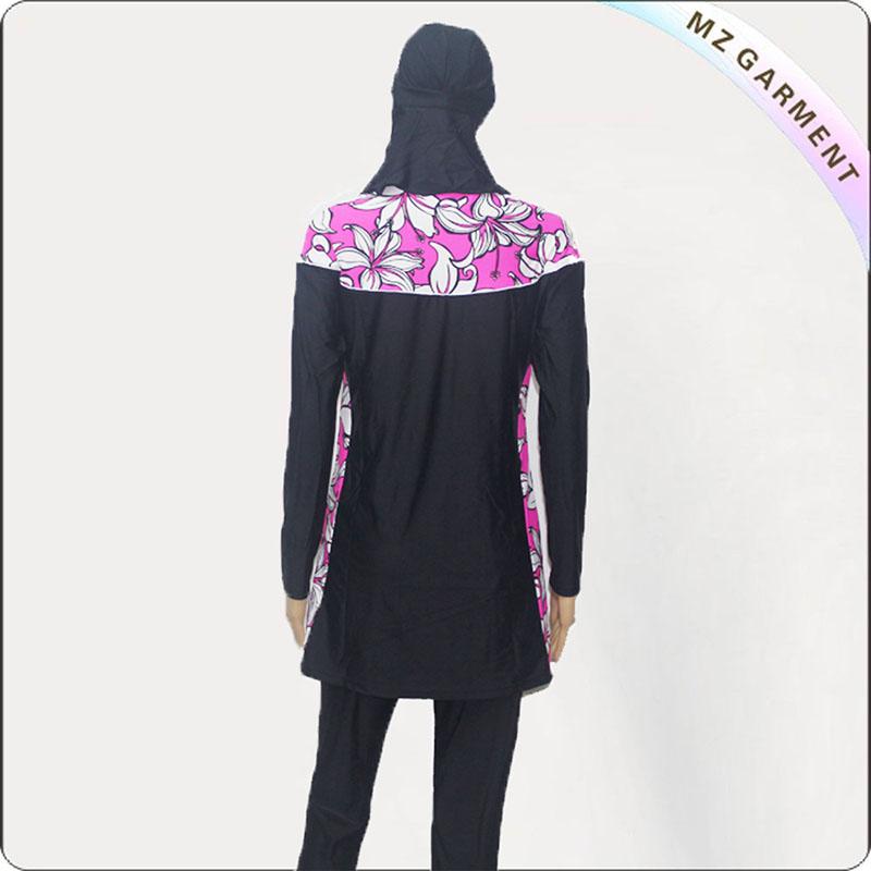 Black Floral Print Muslim Swimwear