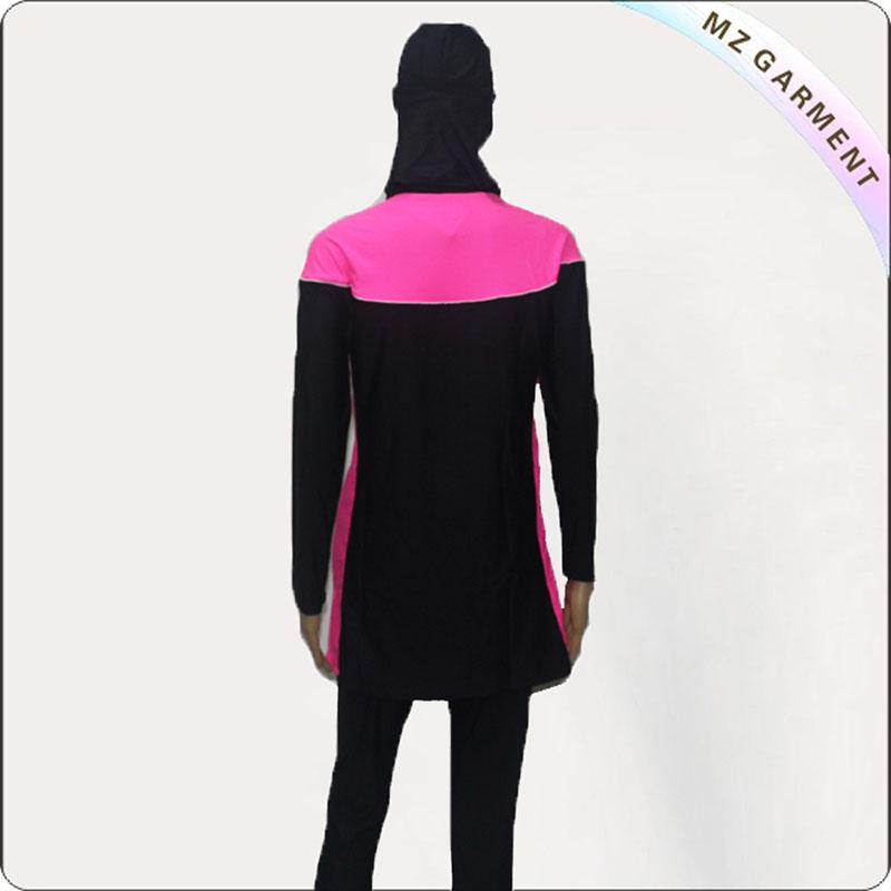 Black & Fuschia Floral Muslim Swimwear