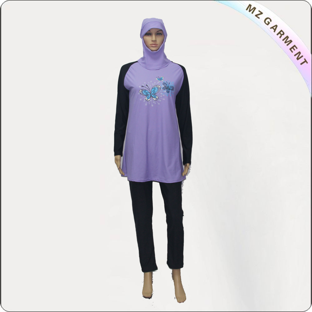Black & Purple Long Sleeve Muslim Swimwear