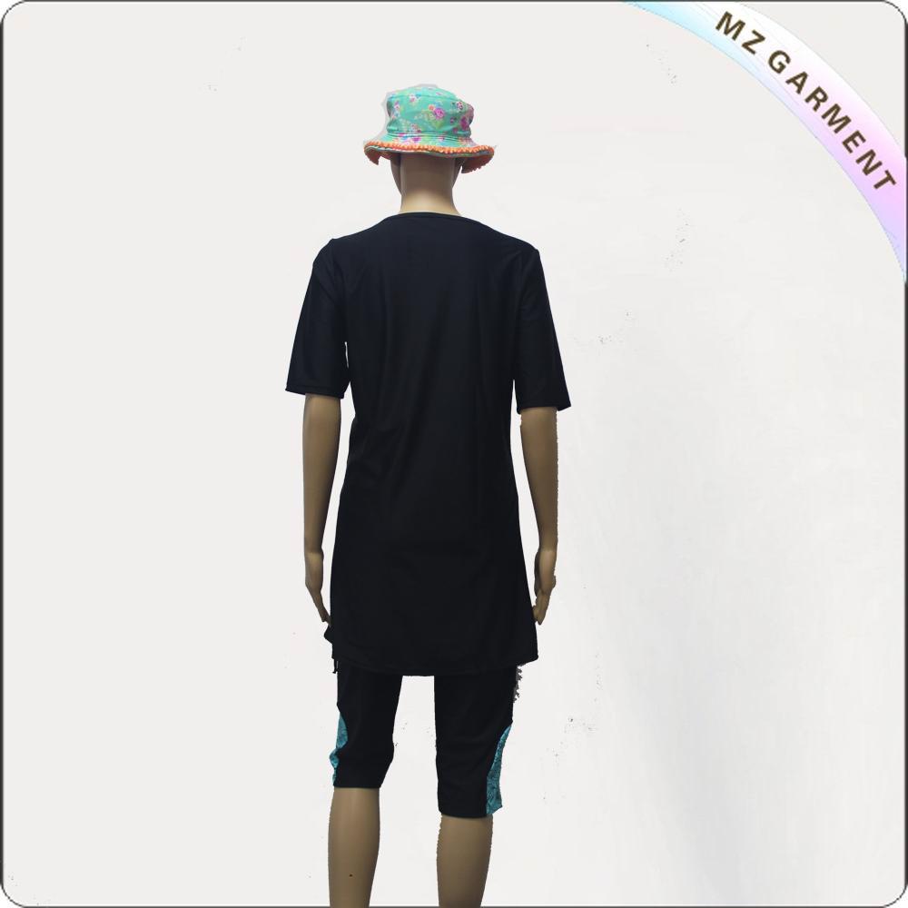 Black Short Sleeve Short Knee Muslim Swimwear with Green Printing