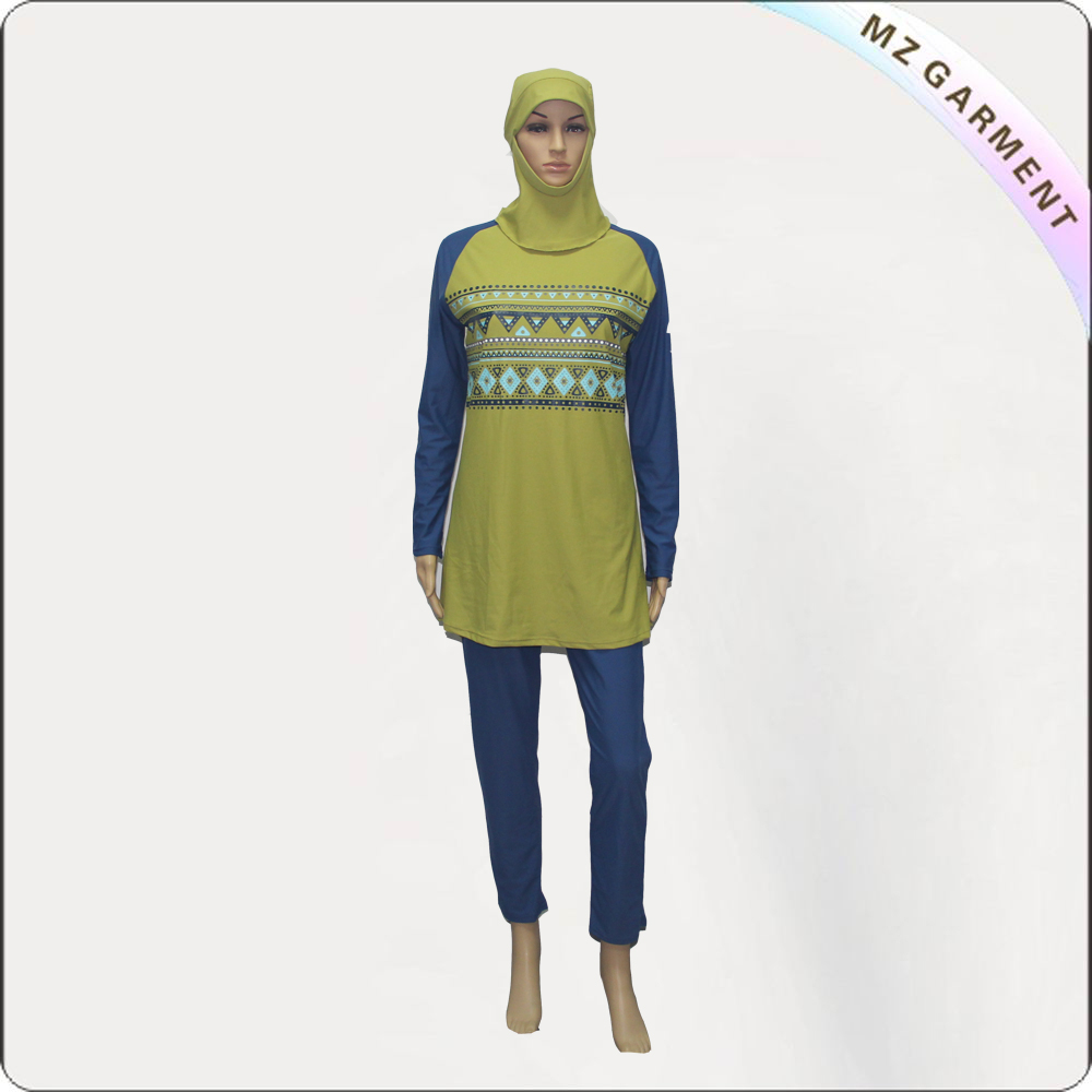 Blue Long Sleeve Muslim Swimwear with Yellow Printing