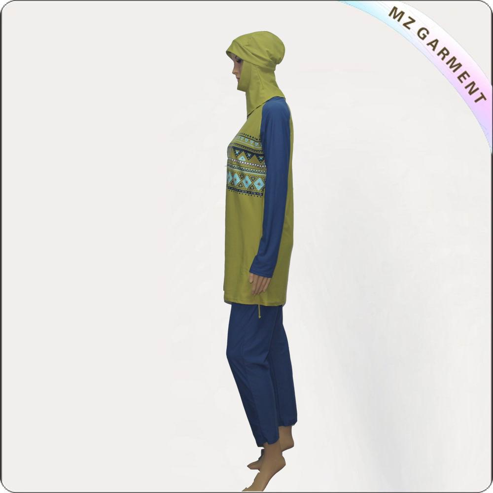 Blue Long Sleeve Muslim Swimwear with Yellow Printing