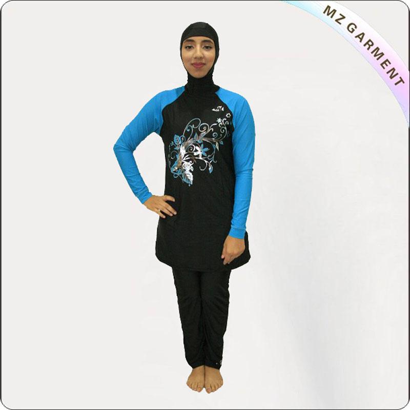 Charcoal Black & Aqua Muslim Swimwear