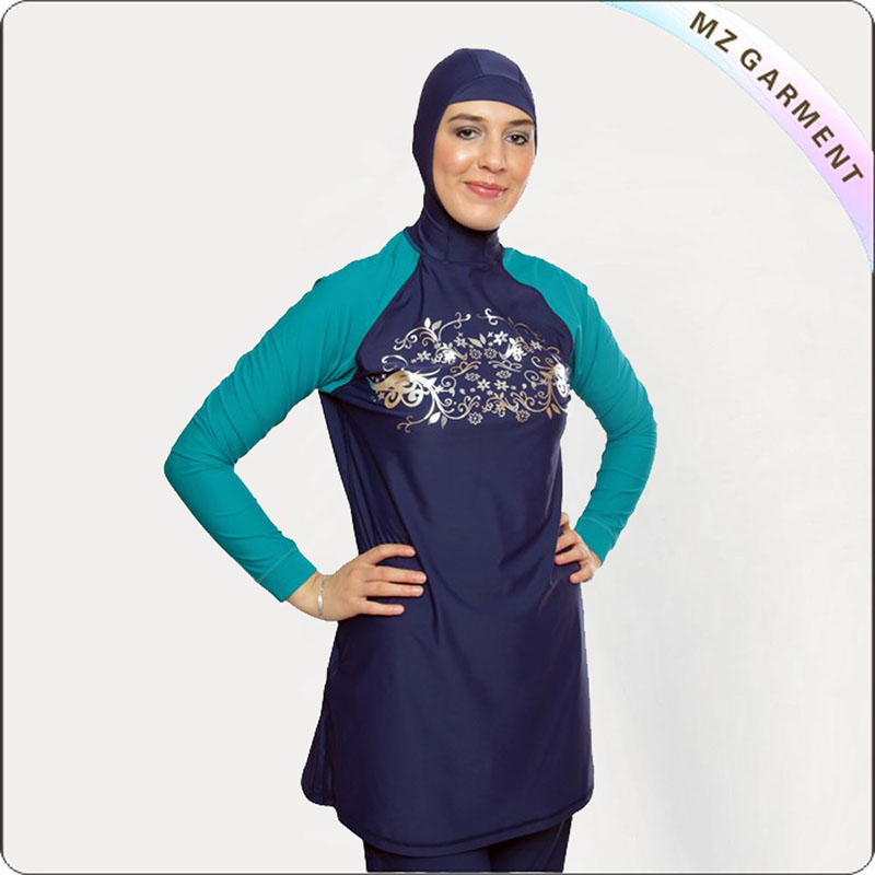 Female Navy & Jade Muslim Swimwear