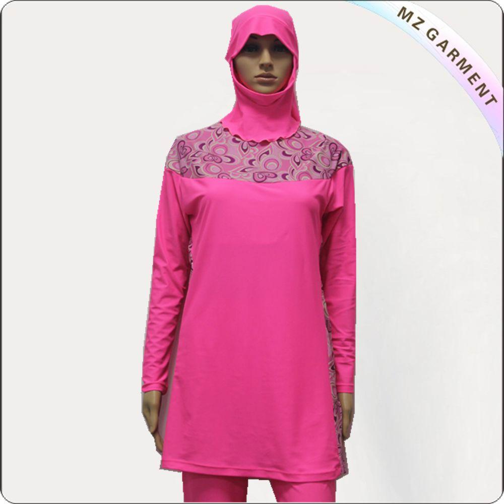 Pink Long Sleeve Muslim Swimwear