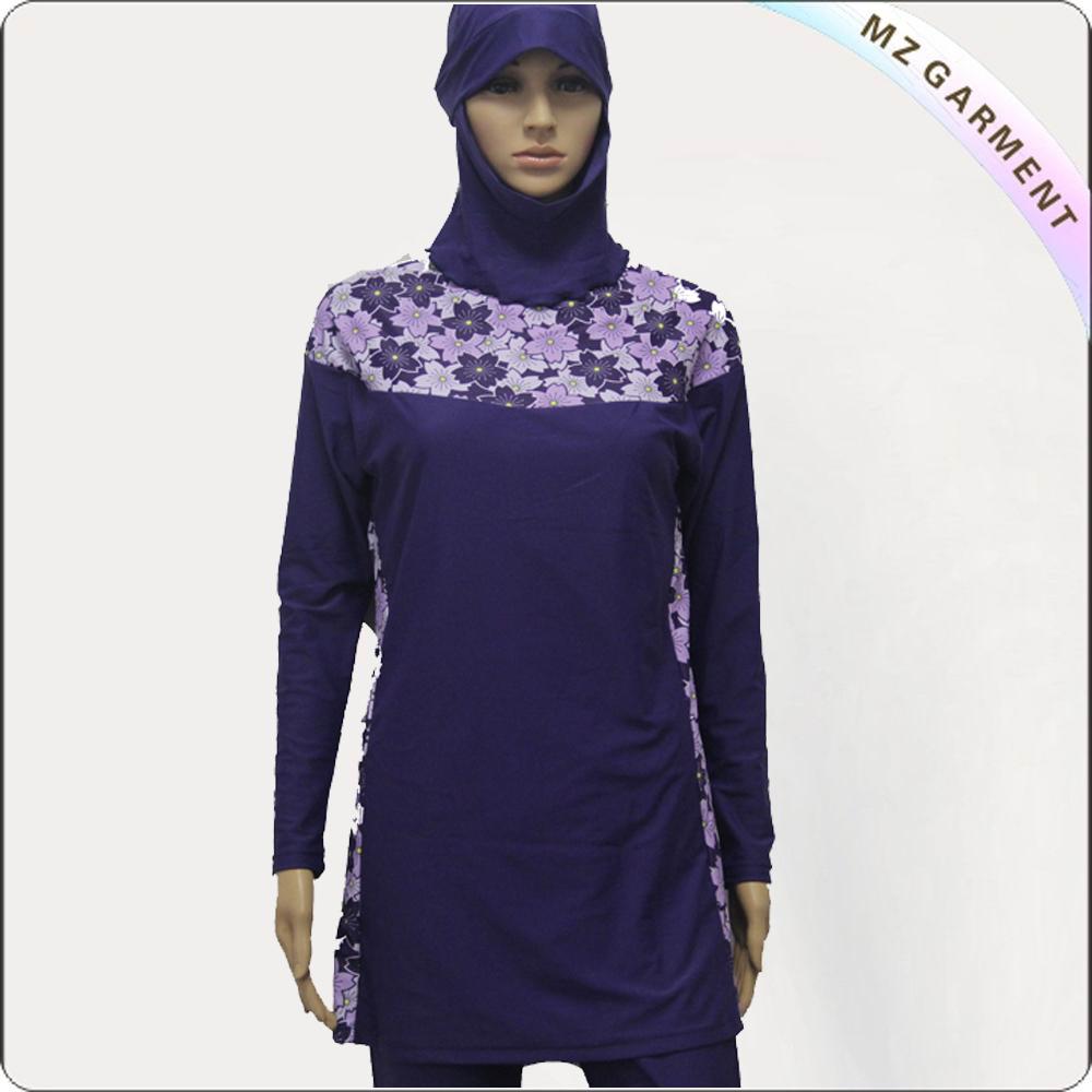 Purple Printing Long Sleeve Muslim Swimwear