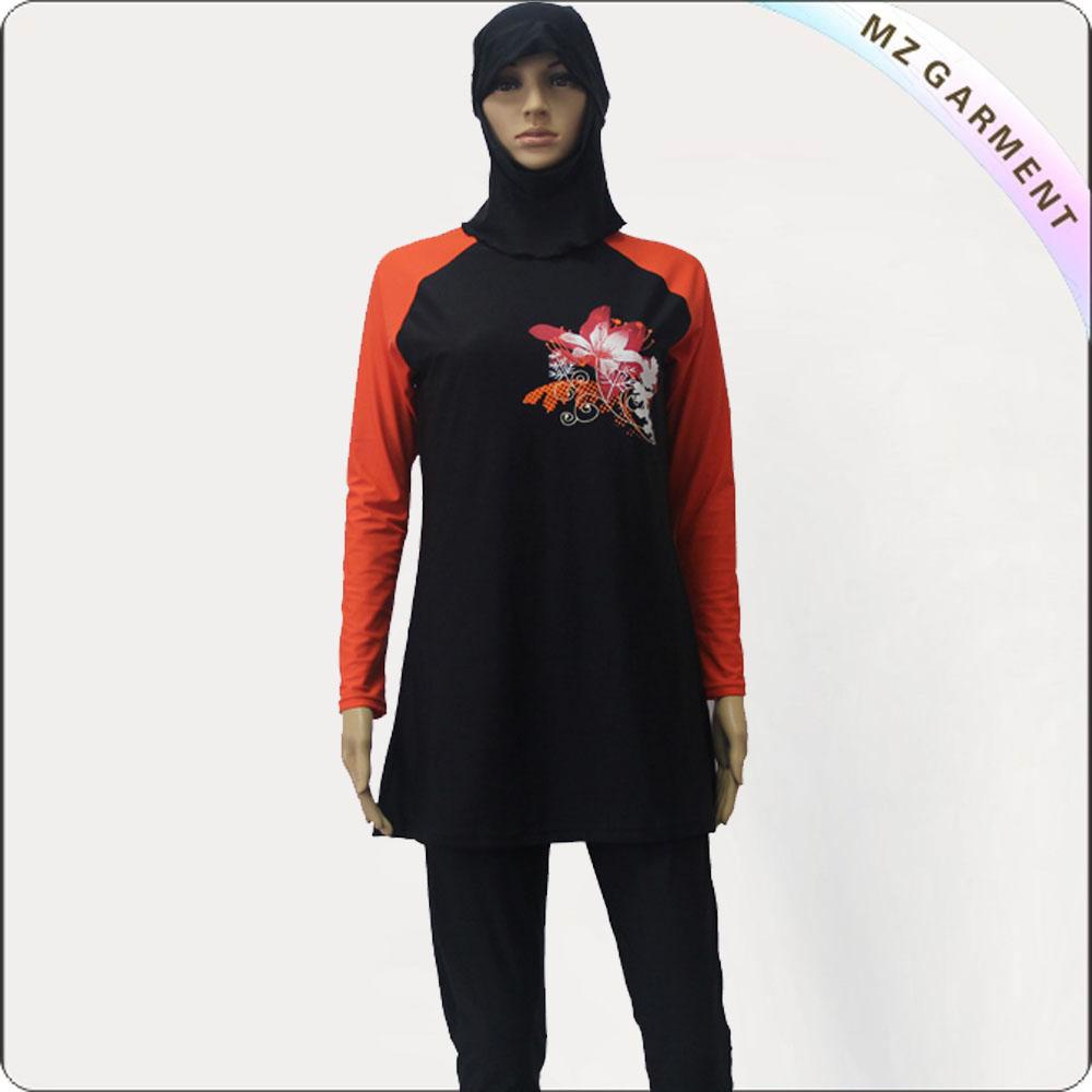 Red & Black long Sleeve Muslim Swimwear