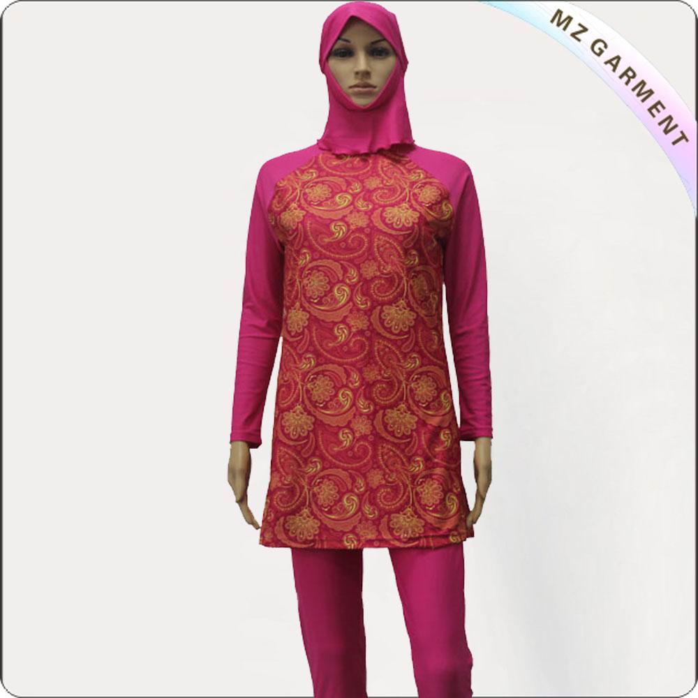Red Printing Long Sleeve Muslim Swimwear