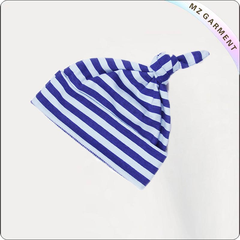 Blue & White Striped Knot Cap