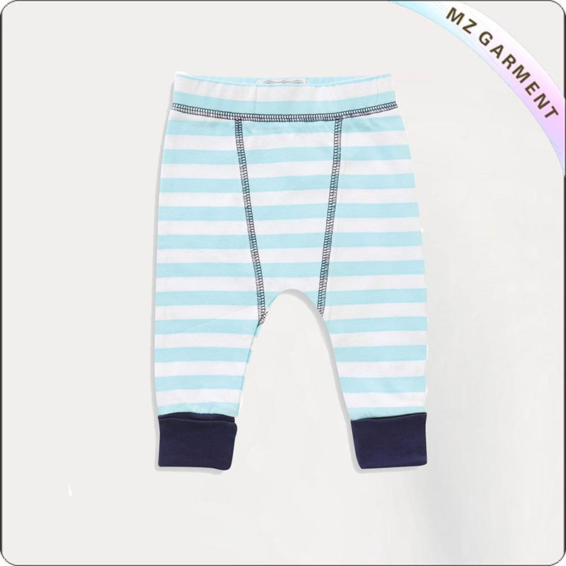 Baby Blue & White Stripe Leggings