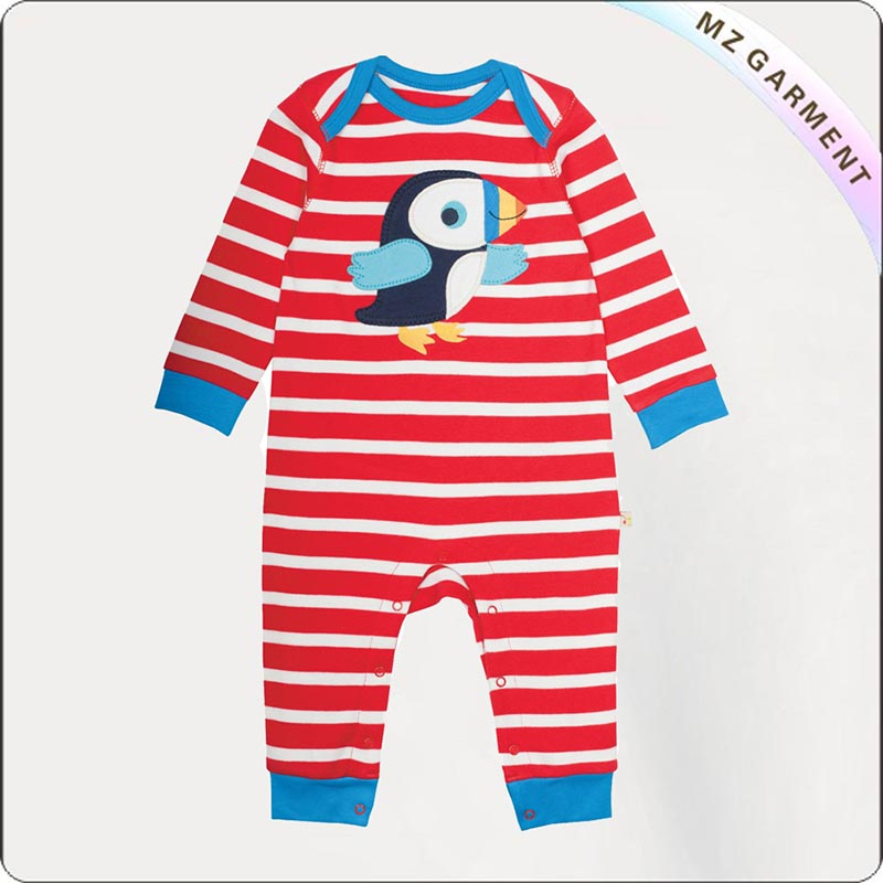 Baby Bubbly Stripe Bird Romper