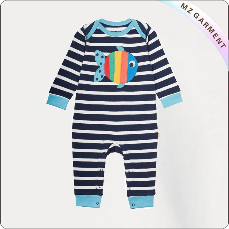 Baby Bubbly Stripe Fish Romper