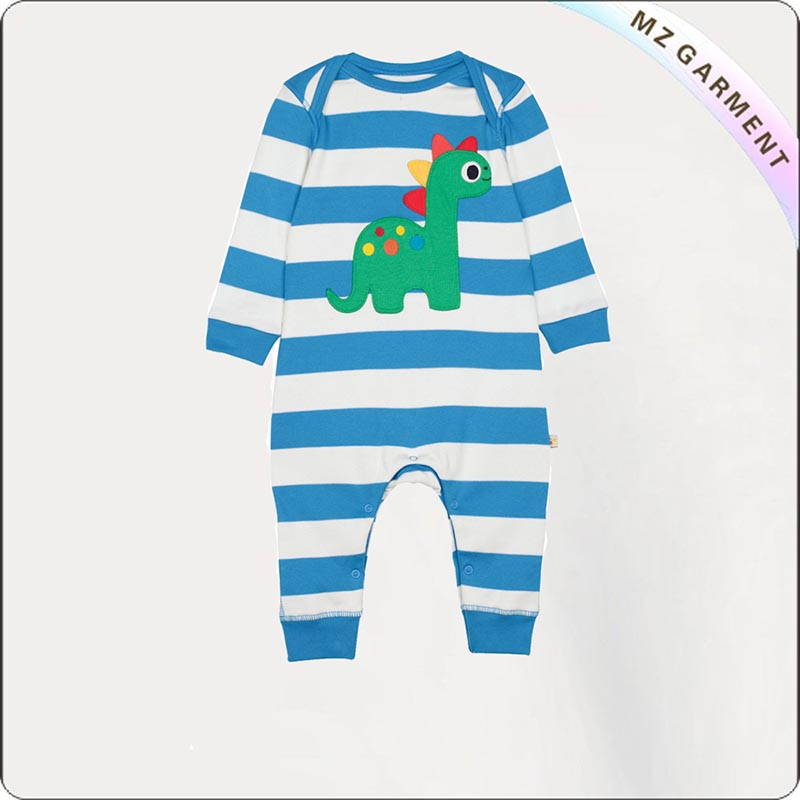 Baby Stripe Dinosaur Romper