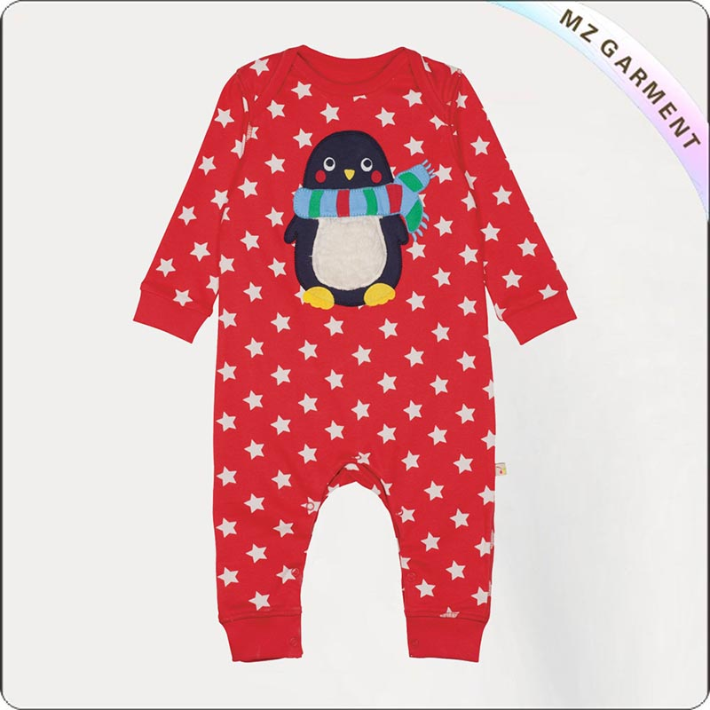 Bubbly Stripe Penguin Romper
