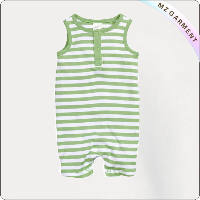 Green Striped Sleeveless Romper