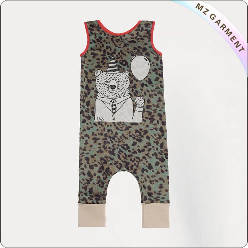Leopard Sleeveless Romper with Bear