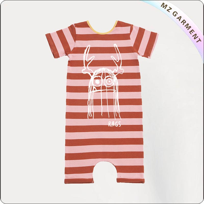 Red Stripe Short Sleeve Romper