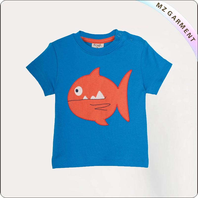 Diver Blue Fish Printed Tee