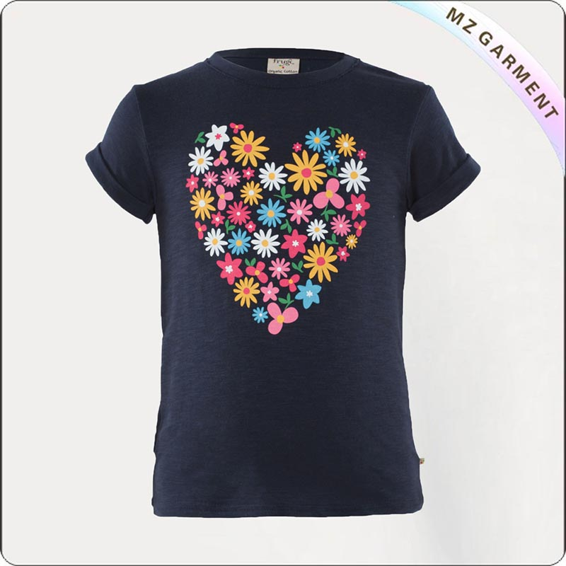 Girls Heart Printed Organic Tee