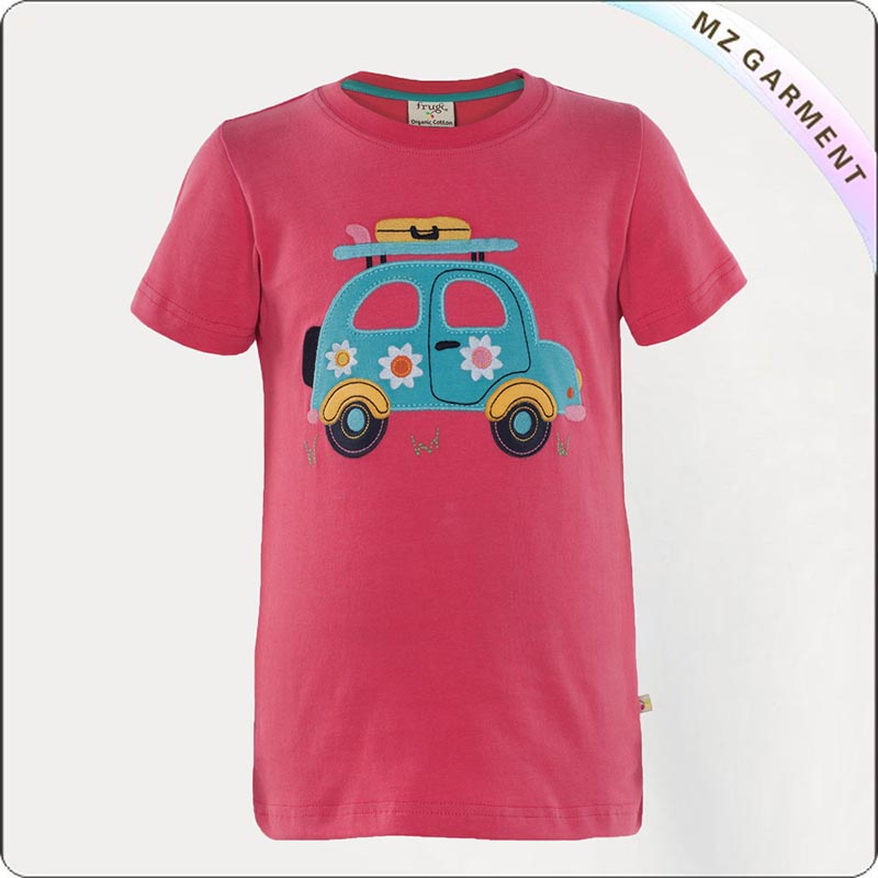 Girls Pink Car Printed Tee