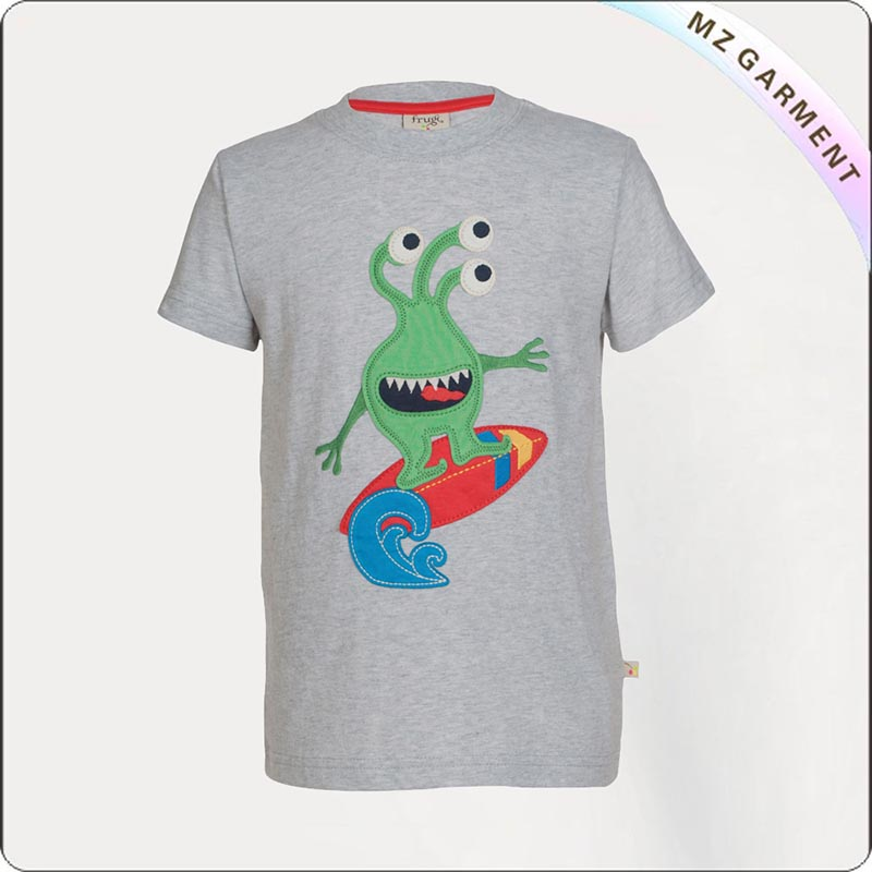 Grey Marl Monster Printed Tee