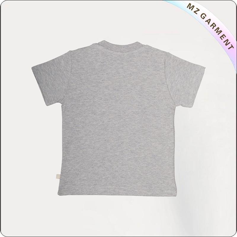 Grey Marl Rainbow Printed Tee