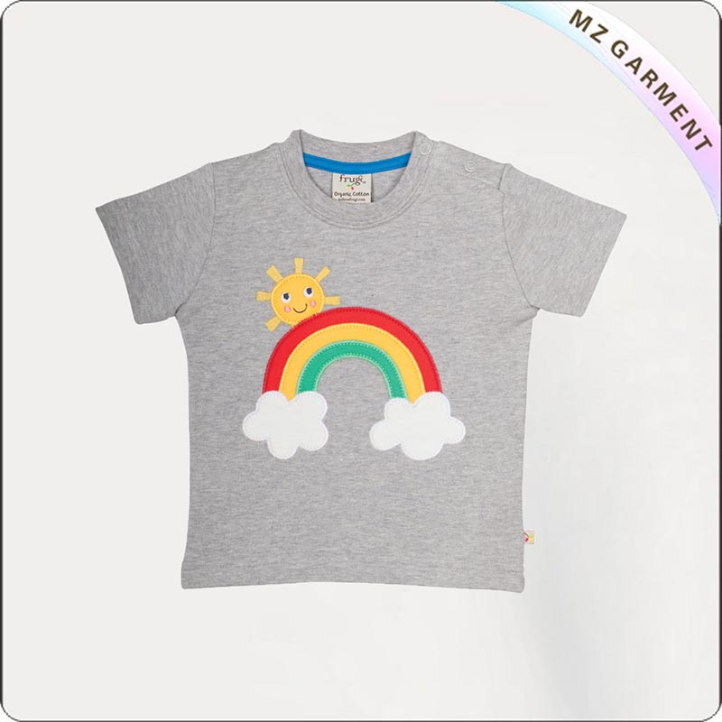 Grey Marl Rainbow Printed Tee