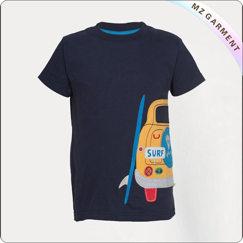 Navy Car Printed Tee