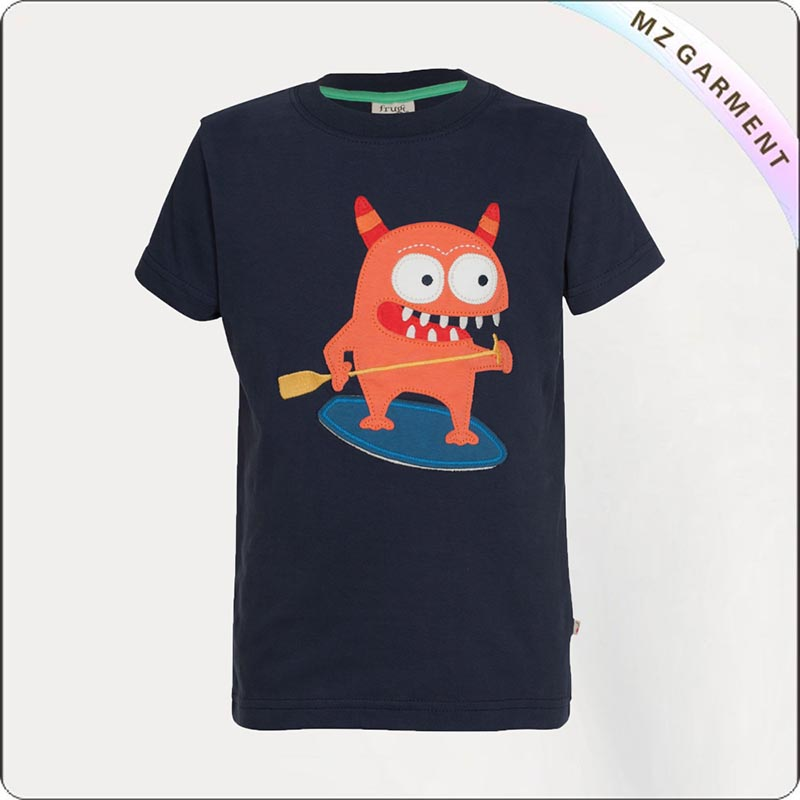 Navy Monster Printed Tee