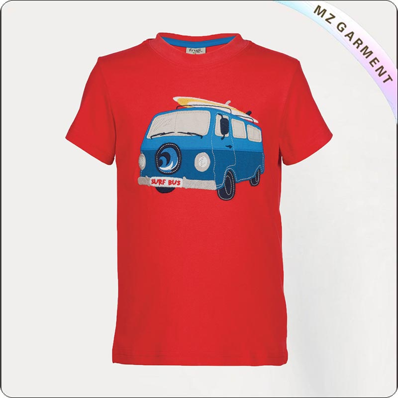 Wheels Applique Camper Printed Tee