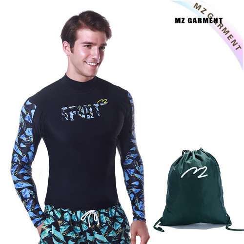 EU Size Male Turtleneck Rash Guard, 82% Nylon, Spandex, Blue