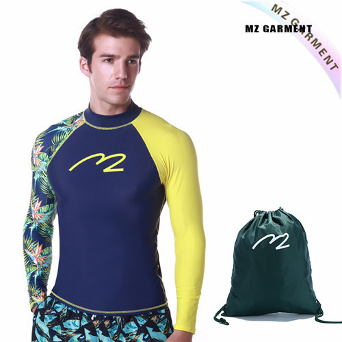 EU Size Mens Water Rash Guards, 82% Nylon, 18% Spandex, SPF 50