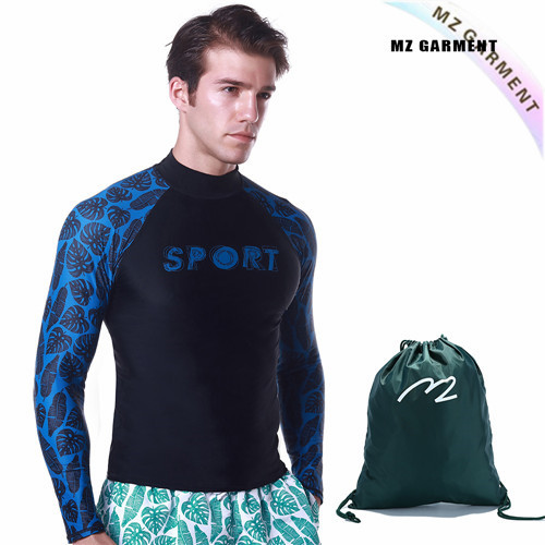 German Men's Rash Guard, 82% Nylon, 18% Spandex, Easily Dry, Blue