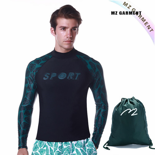 Guys Long Sleeve Rash Guard, European Size, Nylon, Spandex, Green