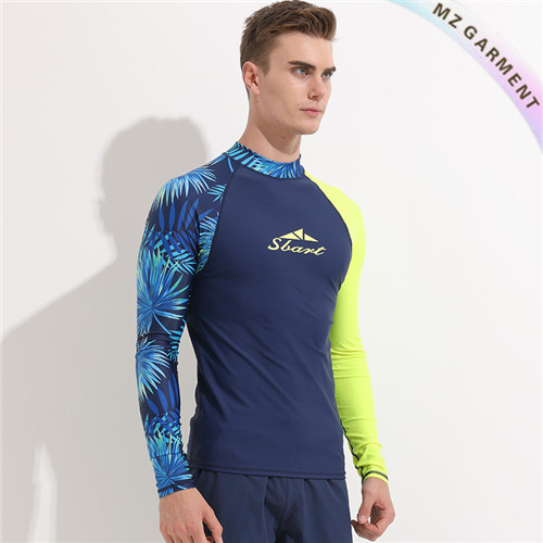 Men's Rash Guard Shirt, Palm Print, Long Sleeve, Blue, Custom