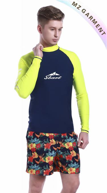 Mens Rash Guard Swim Shirts, Made of Nylon & Spandex, UPF 50+