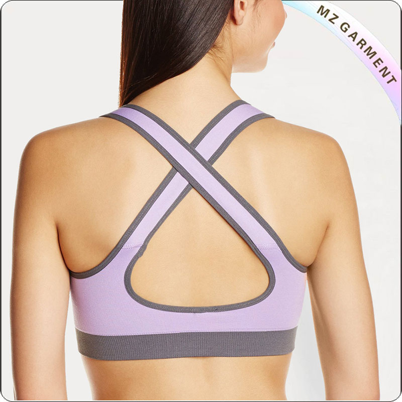 Light Purple & Grey Moulded Cup Exercise Bra