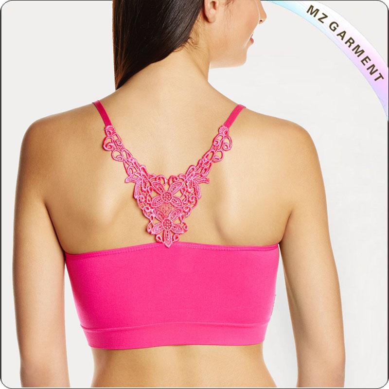Pink Long Exercise Bra