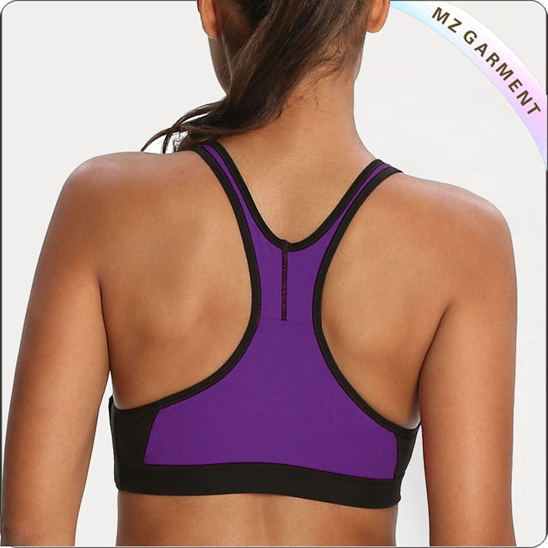 Purple & Black Racer Back Exercise Bra