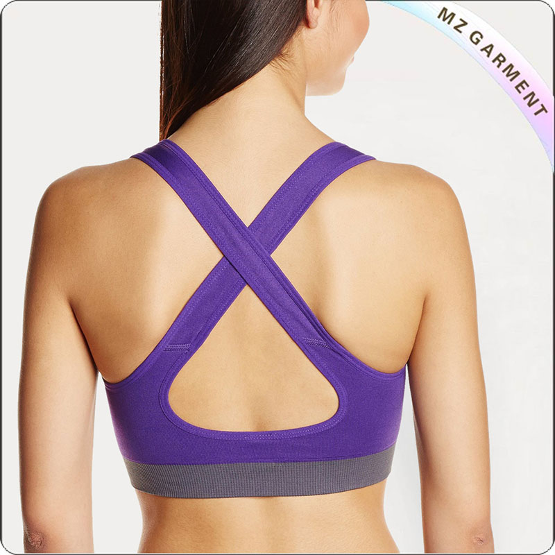 Purple & Grey Moulded Cup Exercise Bra