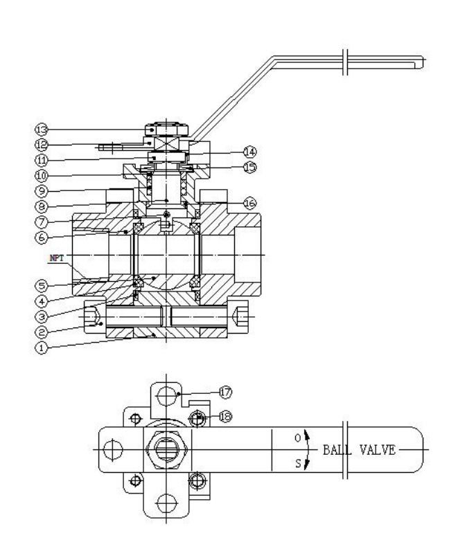 Major structures of forged steel ball valve