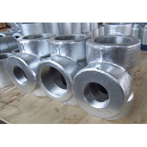 ASME B16.11 Galvanized Reducing Tee, ASTM A105, PN400, DN50 X DN80