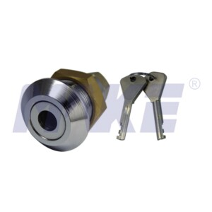 Harden Steel, Brass Top Security Cam Lock, Shiny Chrome, Nickel Plated