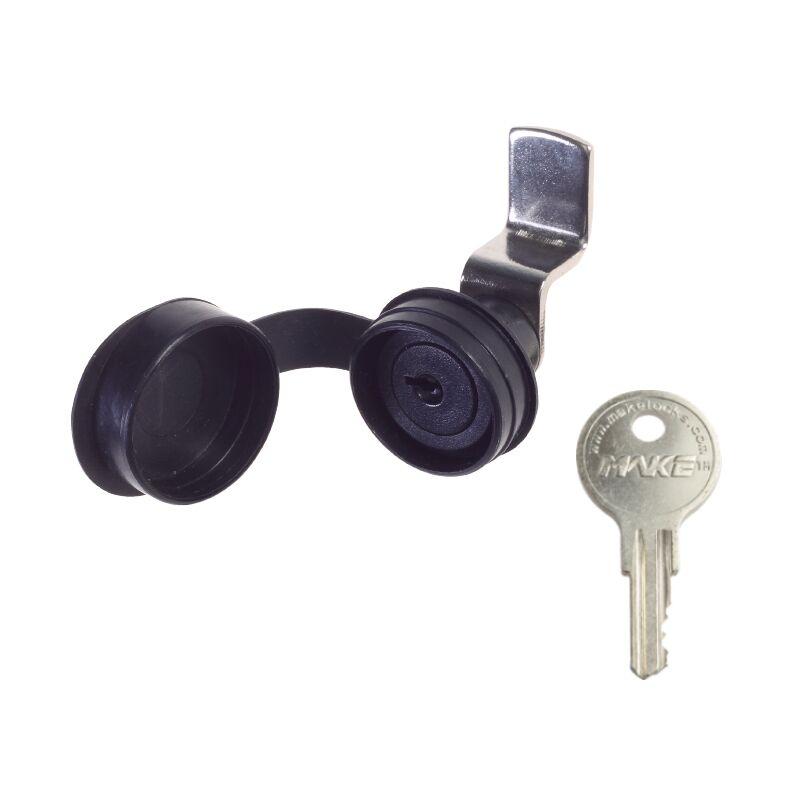 Small Plastic Push-In Cam Lock, Nylon 6/6 Black, Combination 15