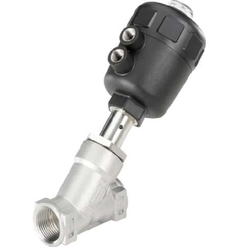 Burkert Angle Seat Valve with a single or double–acting piston actuator
